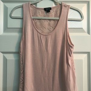 Pink Tank w/ Knitted Back